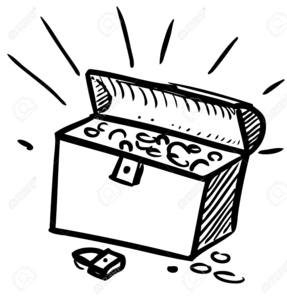 Treasure Chest Clipart Black White.