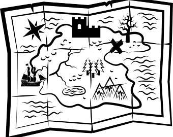 Treasure Map Clipart Black And White.