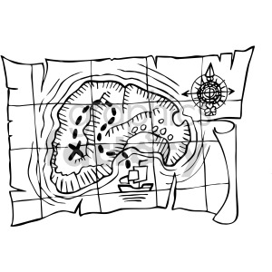 pirate treasure map outline clipart. Royalty.