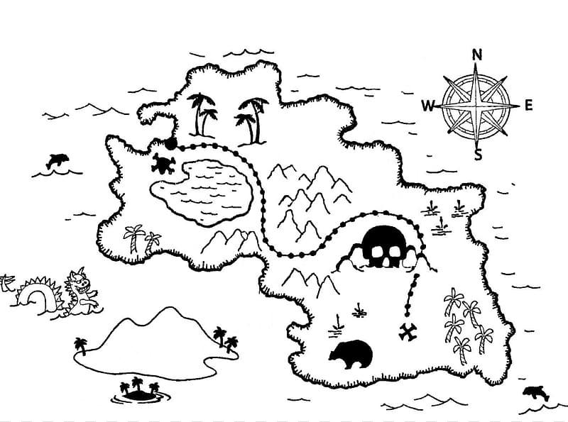 Treasure Island Treasure map Coloring book Buried treasure.