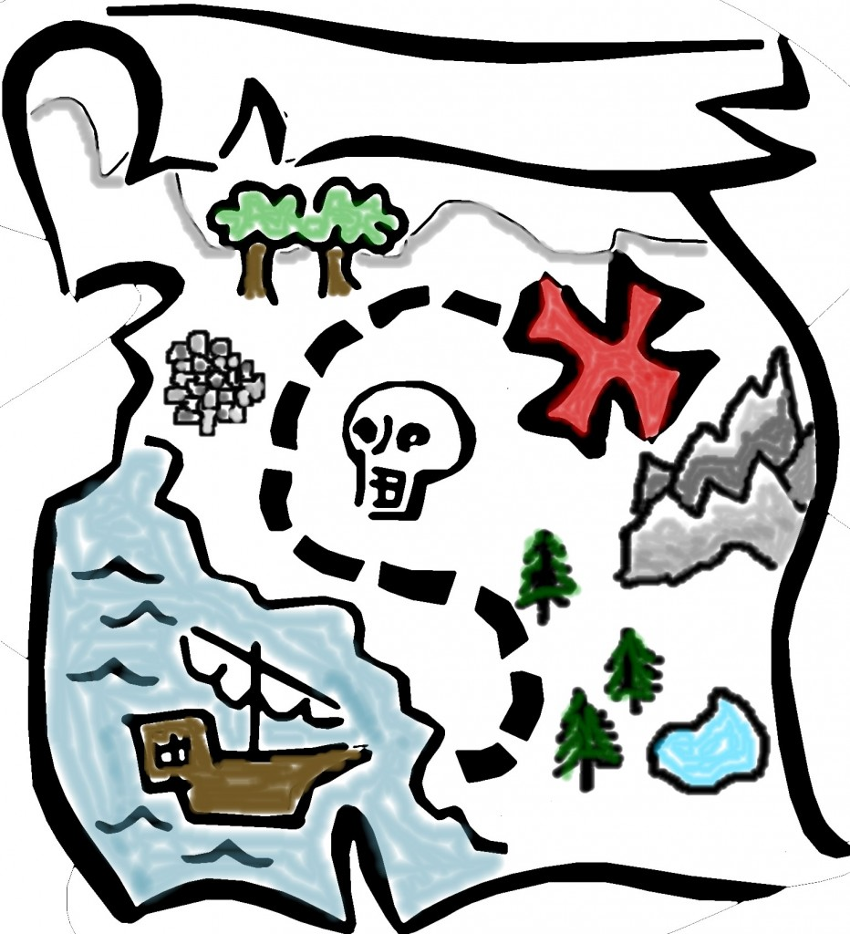 treasure map outline clipart #7