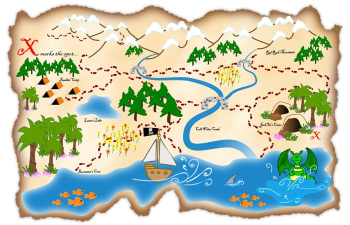 Treasure Map Outline.