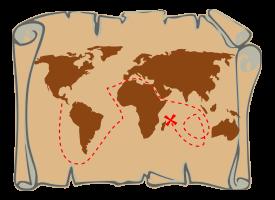 Treasure Map Outline Vector.