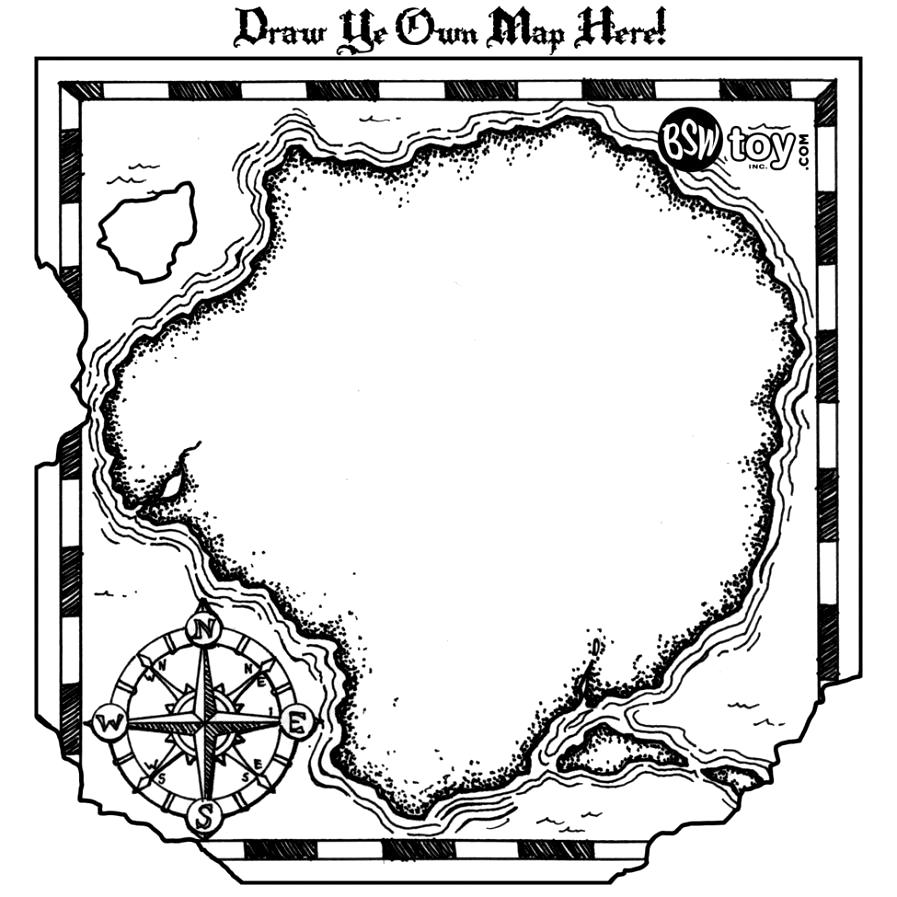 Pirate Treasure Map Coloring Pages Free Printable Earth Vector.