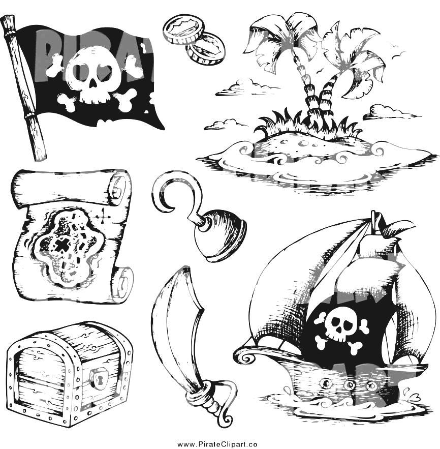 Treasure Map Symbols Clipart Cartoon British Admiral Stock.