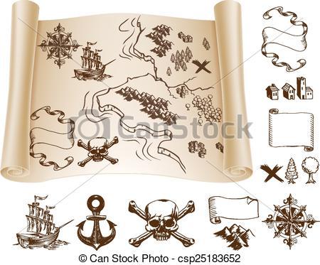 Treasure Map Symbols Clipart.
