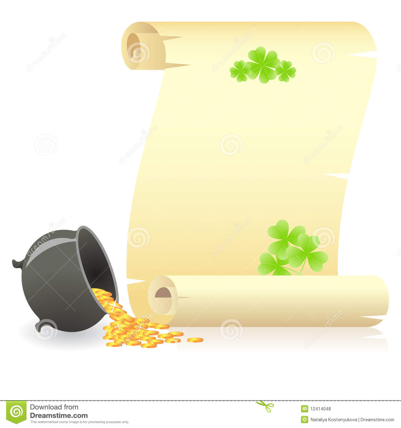 St. Patrick's Day Scroll And Treasure Pot Royalty Free Stock.