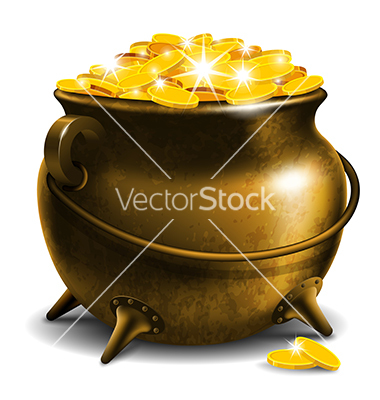 Pot with treasure vector by Pazhyna.