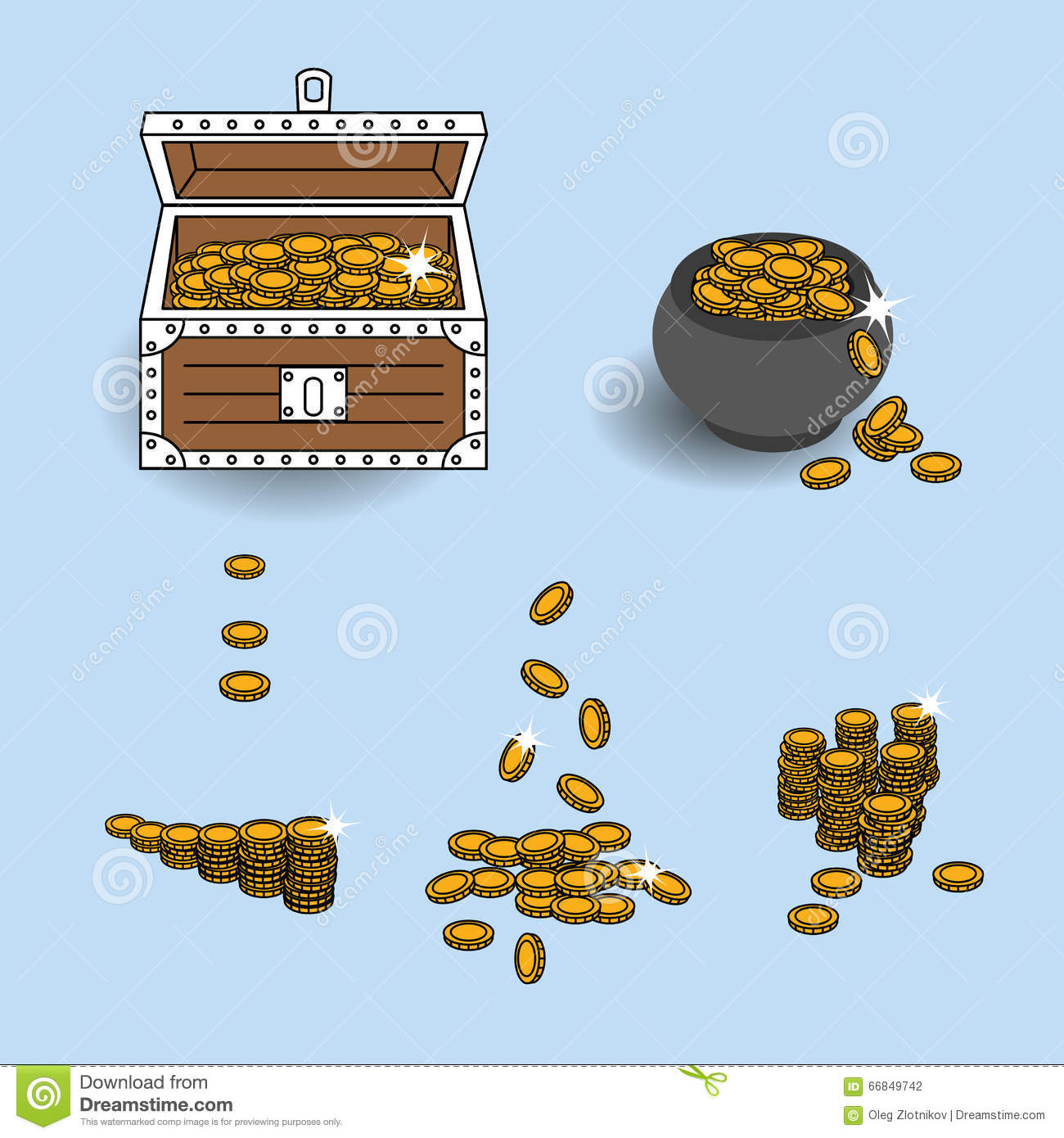 Vector EPS10 Illustration Gold Coins Placed Into Treasure Chest.