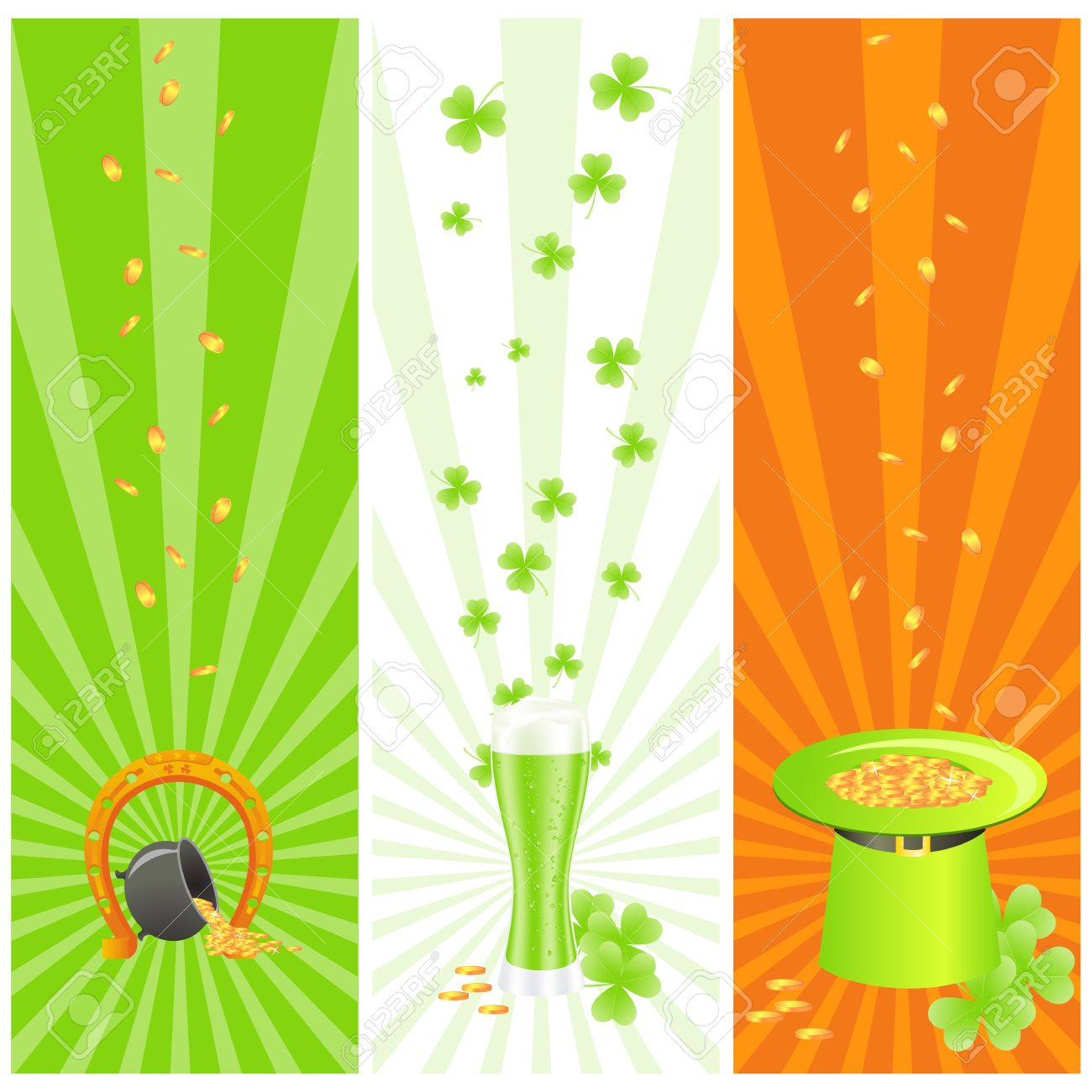 Ireland National Colored Banners With Luck Horseshoe, Treasure.