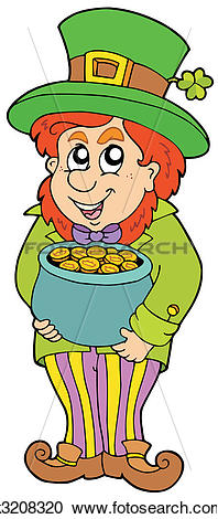 Clipart of Leprechaun with treasure pot k3208320.