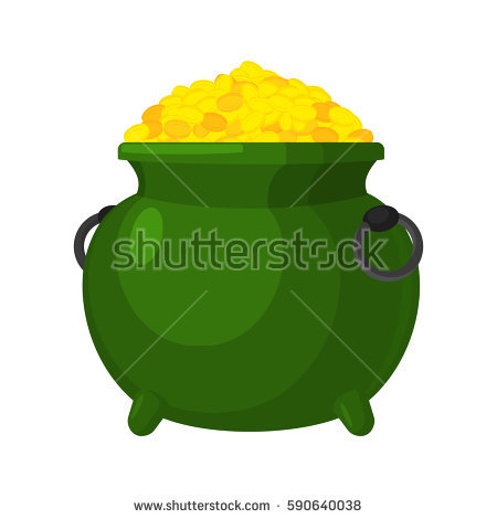 Pot Of Gold Coins Stock Images, Royalty.