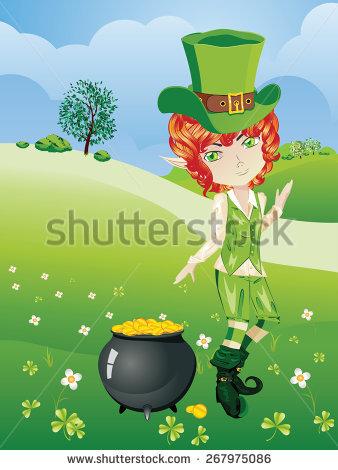 Cartoon Leprechaun Boy With Treasure Pot On A Grass Field. Stock.