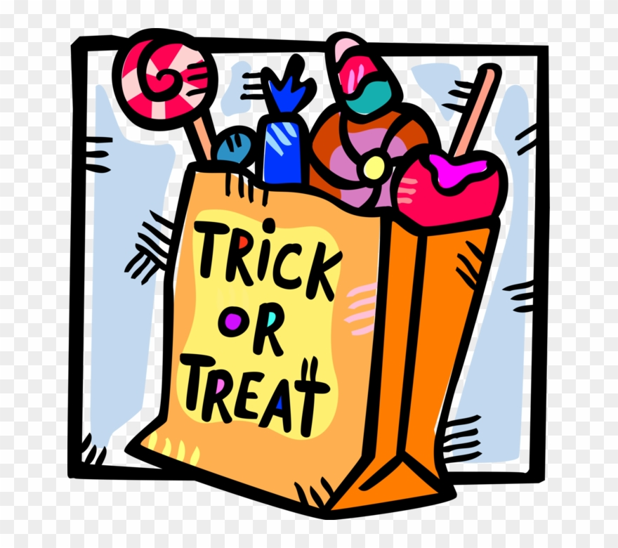 Vector Illustration Of Trick Or Treat Bag Of Halloween.