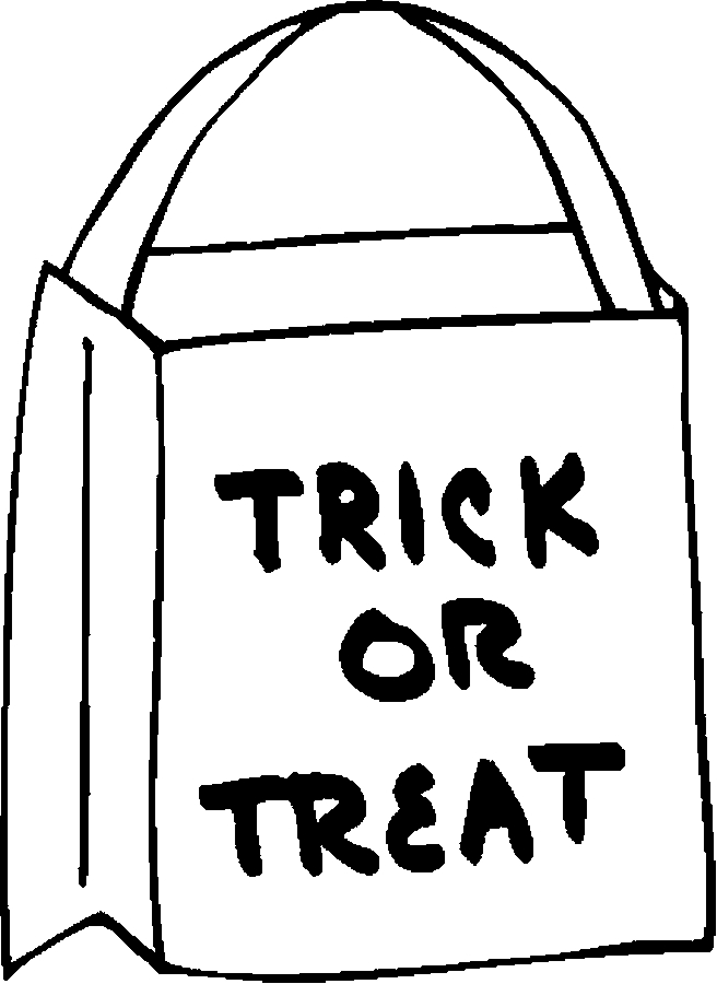 Trick Or Treat Bag Clipart Black And White.