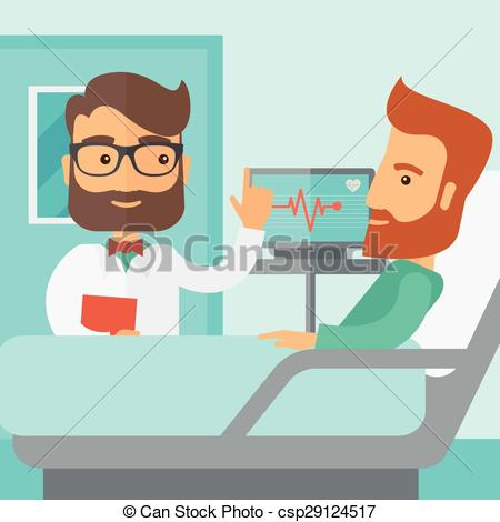 Vector Clip Art of Patient being treated by a doctor..