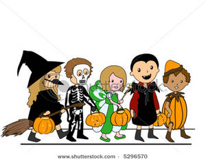 Clipart trick or treating kids.