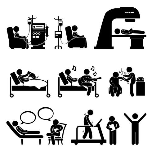 Hospital Medical Therapy Treatment Stick Figure Pictogram.