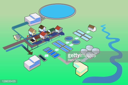 Illustration Of A Waste Water Treatment Plant Stock Illustration.