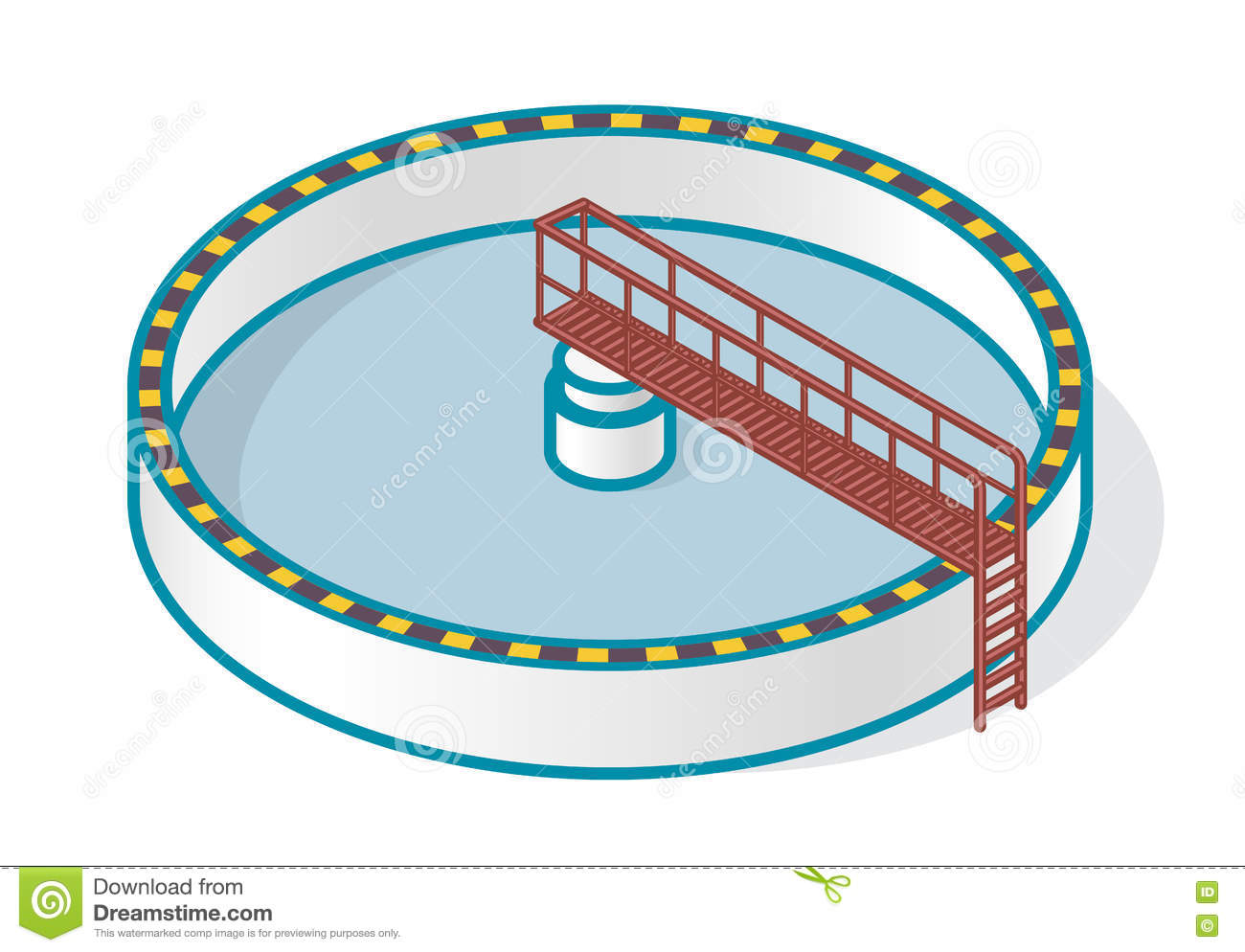Wastewater Treatment Plant In Stylized Outline Vector Symbol.