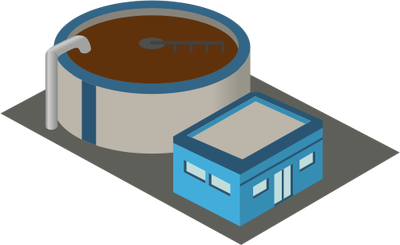 Waste water treatment plant clipart.