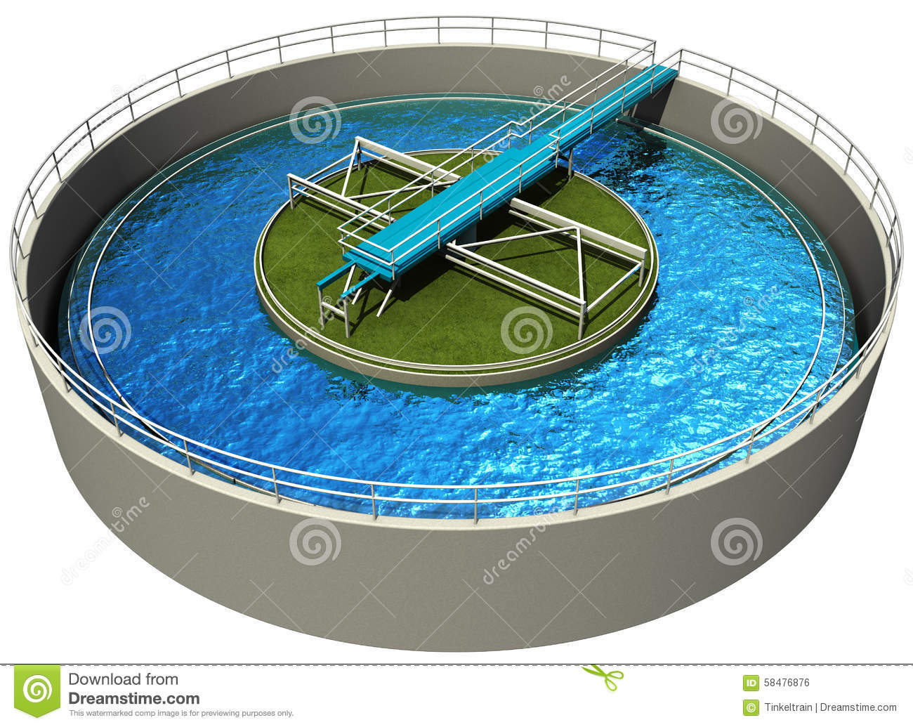 Waste Water Treatment Plant Stock Illustration.