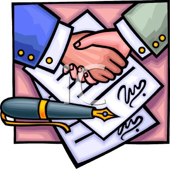 Signing Contract Clip Art.