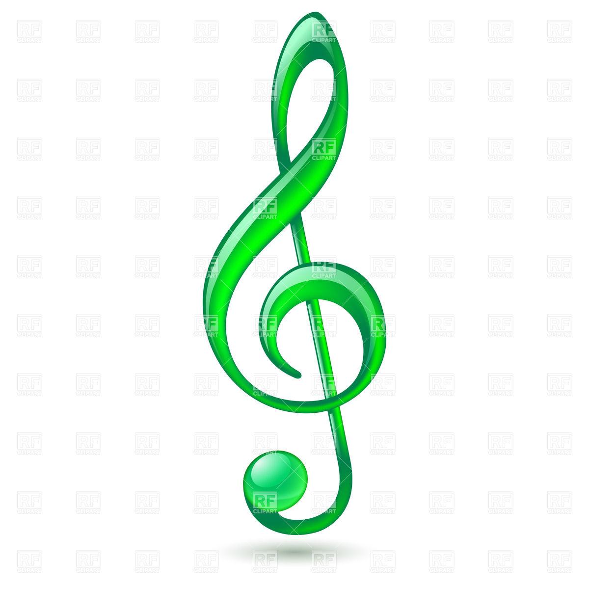 Green Treble Clef Clipart.