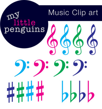Music Clipart Treble Clef, Bass Clef, Sharp & Flat.