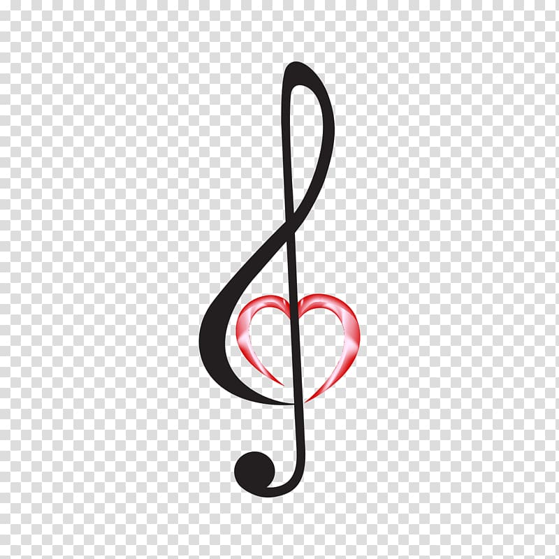 Music note with red heart illustration, Clef Treble Musical.