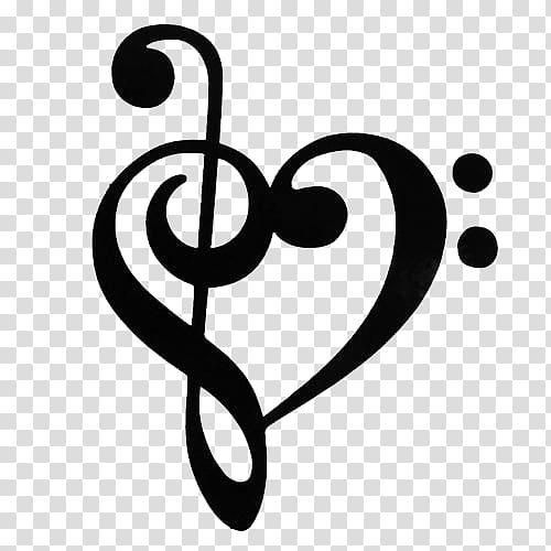 Heart music note illustration, Musical note Clef Treble.
