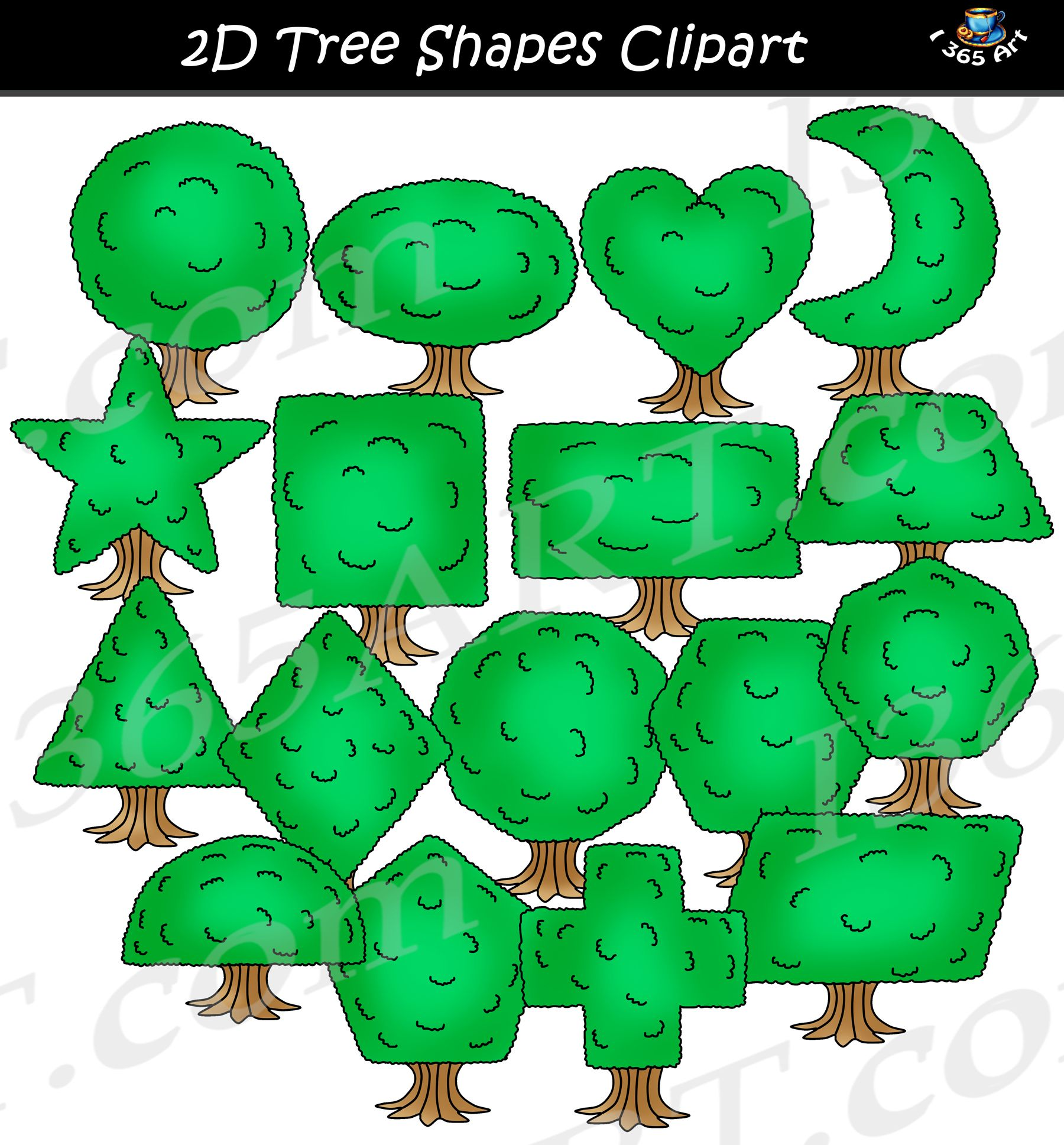2D Tree Shapes Clipart Graphics Set.
