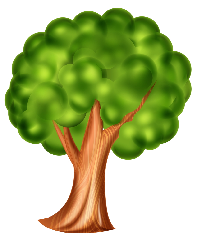 Cartoon Tree PNG Clip Art 3d Effect.