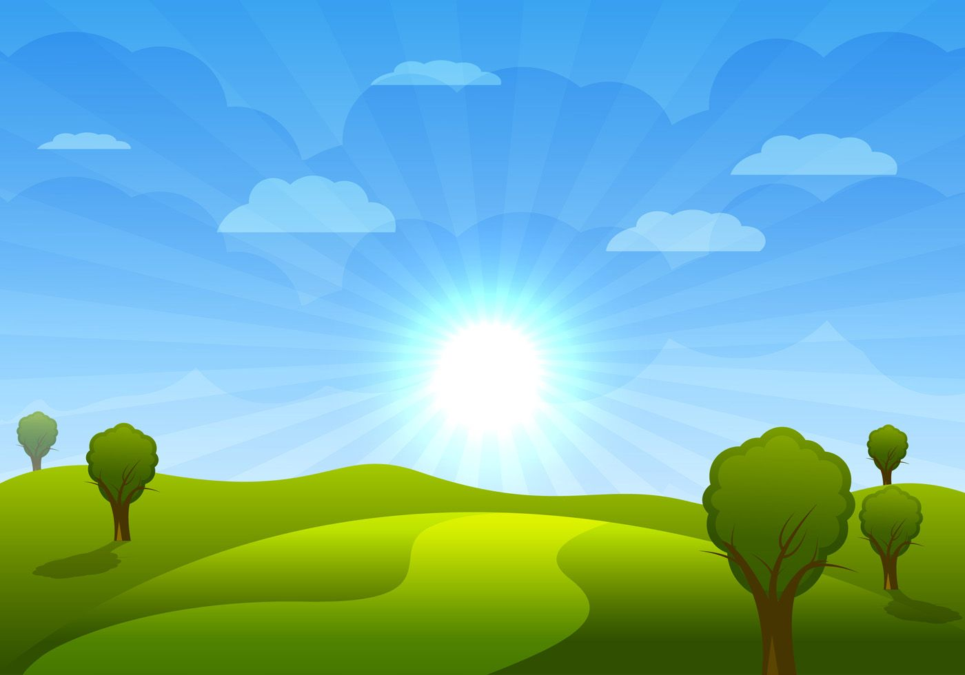 Beautiful cartoon landscape with trees and clouds vector.