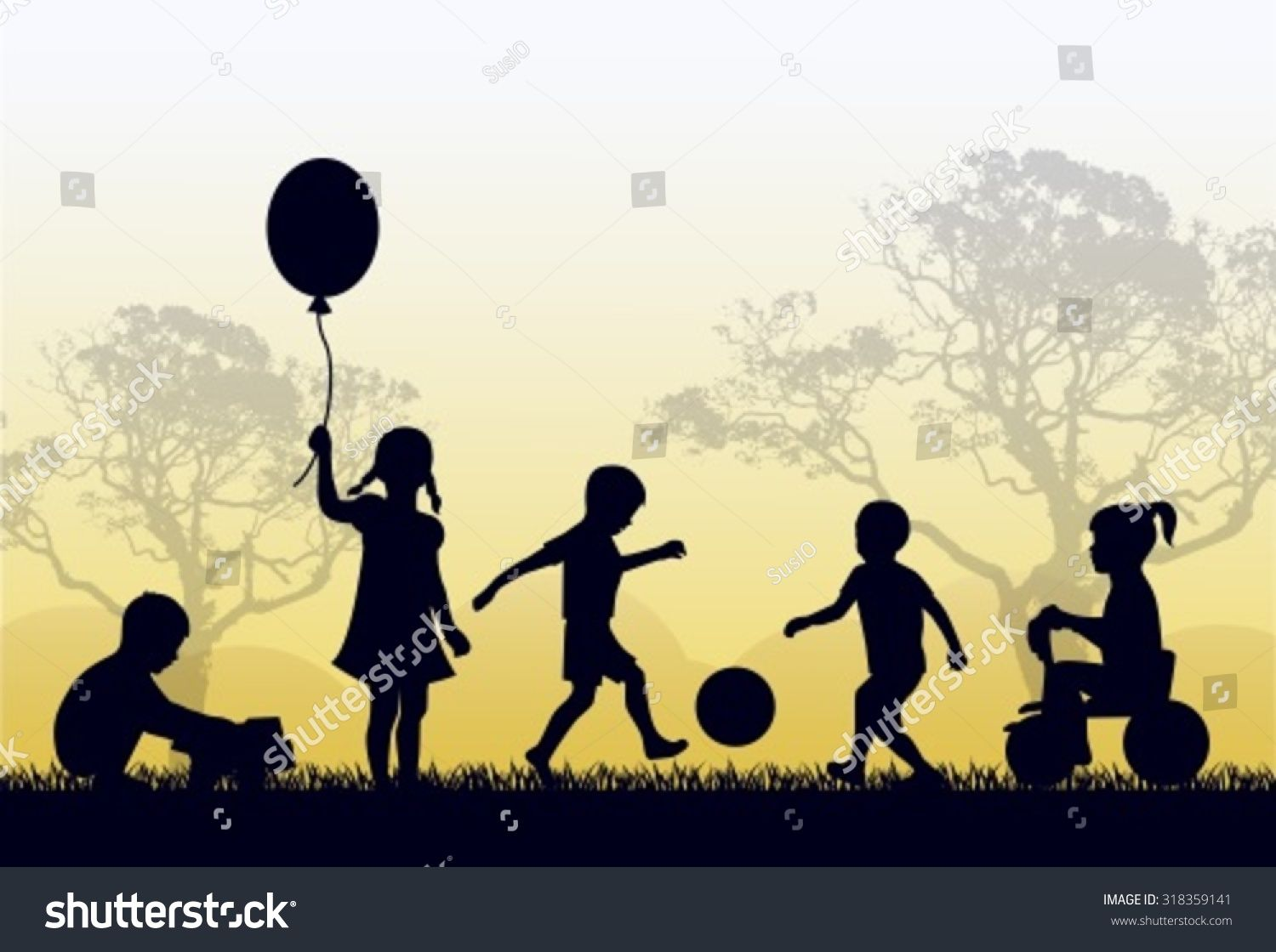 Silhouettes of children playing outside in the grass and.