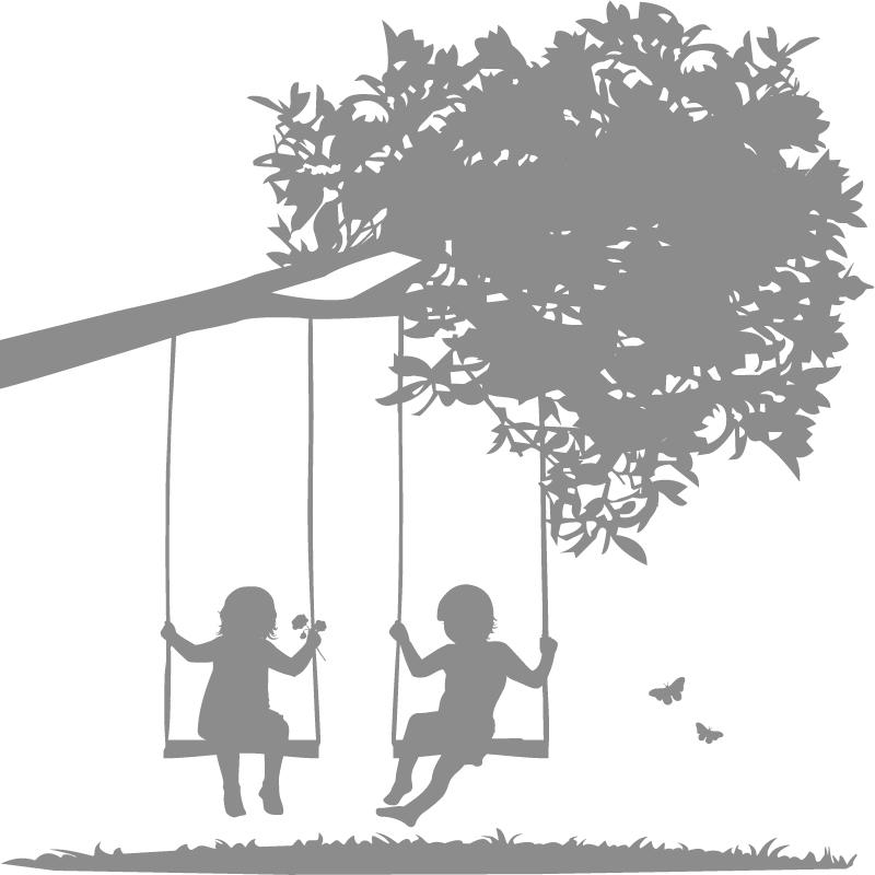 Kids On Swing Silhouette.