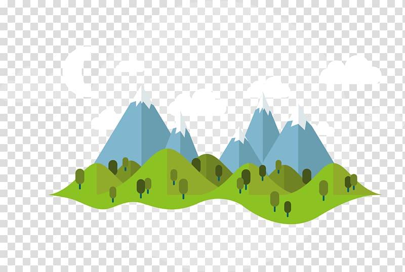 Five blue mountains illustration, Summer Illustration.