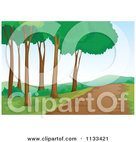 Cartoon Of A Nature Path And Trees 1.