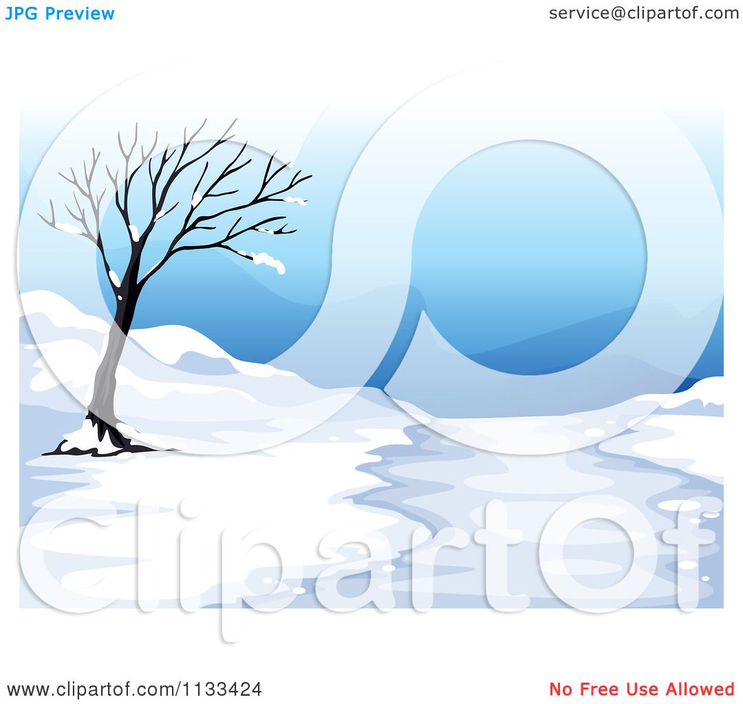 Cartoon Of A Bare Tree And Snow By A Path.