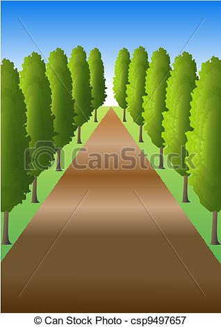 Stock Illustrations of Path with trees.