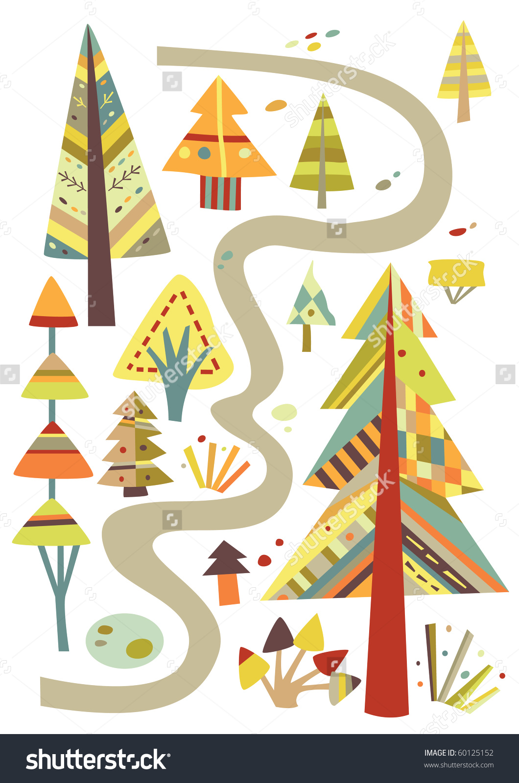 Forest Path Trees All Geometric Style Stock Vector 60125152.