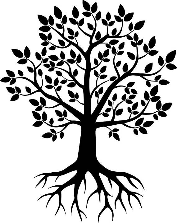Tree With Roots Silhouette Png.