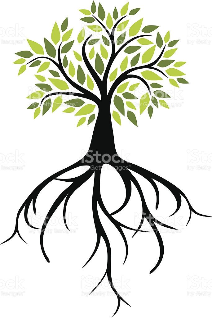 Silhouette Of A Tree Roots Clip Art, Vector Images.