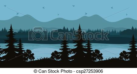 Vector Clipart of Seamless Landscape, Trees and Mountain Lake.