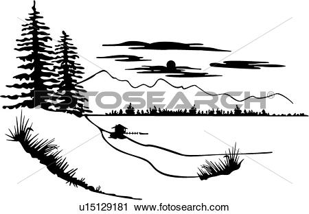 Clipart of , illustrated panels, country, forest, lake, pine tree.