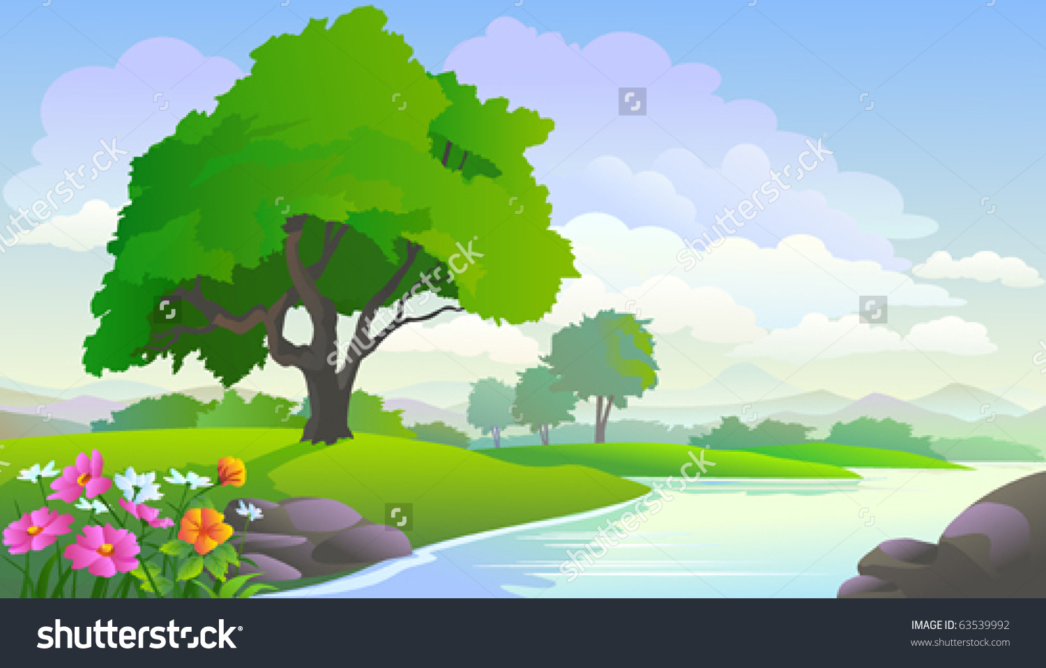 Beautiful Lake View Trees Stock Vector 63539992.