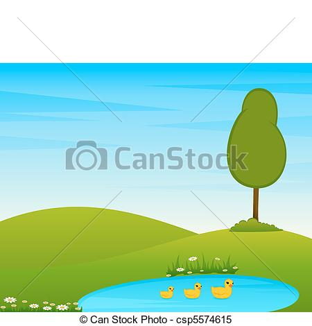 Clipart Vector of Landscape with tree and lake..