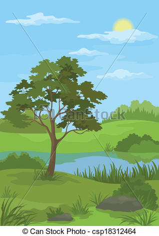 Clip Art Vector of Landscape, pine tree and lake.