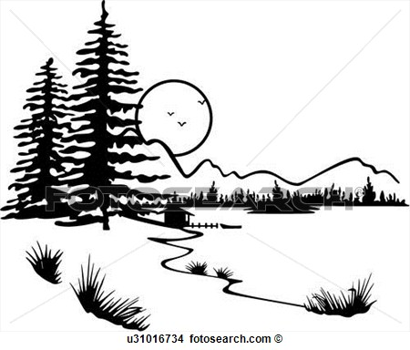 Lake And Trees Clipart.