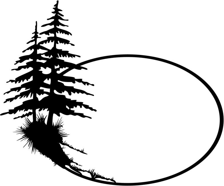 Lake clipart black and white tree silhouette.
